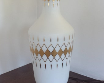 Vintage Mid Century Diamond argyle harlequin table lamp white glass gold design
