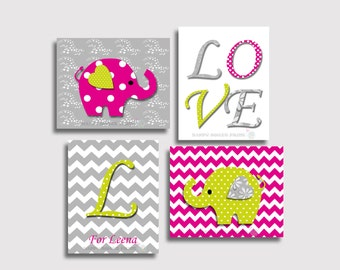 Nursery wall print,baby girl art,hot pink-grey-lime green elephant,personalized elephant crib bedding and decor,chevron,polka dots art 124