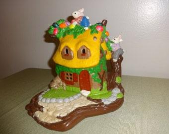 Vintage Light Up Ceramic Easter Bunny Cottage