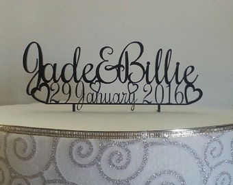 Personalised Cake Topper with 2 first names over date