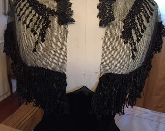 Antique Shabby French Black Lace and Beading Collar