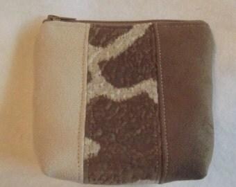 Handmade Giraffe Suede leather Change Purse