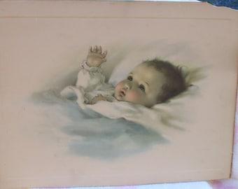 Original Bessie Pease Gutmann Lithograph, AWAKENING, Good Print, Vintage New Baby Nursery Print, 1920's