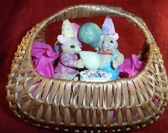 Mouse Collector's Vintage Birthday Basket Mice Figurines with Birthday Cake in Cozy Basket