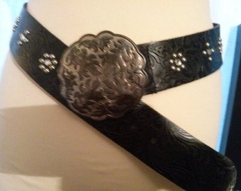 black leather belt buckle aged metal rock nails