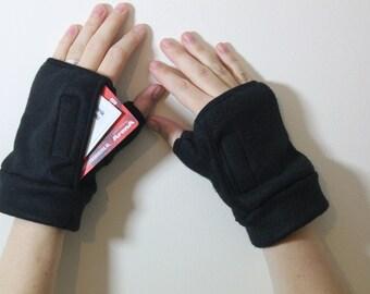 Travel Fingerless Gloves-Purse -Black Gloves-Wallet-Fleece