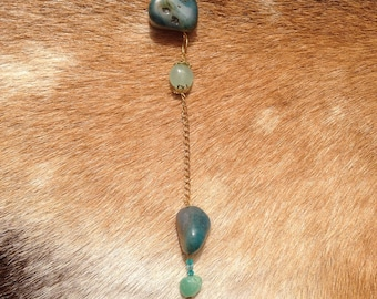 Long Blue Agate Geode and Stone Necklace