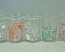 FLINTSTONES GLASSES: Collectible 1960s Welch's Jelly 6 oz. Juice-Drinking Glasses