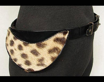 Vintage 1950s CALDERON Belt Leather with Leopard Spotted Fur Inserts