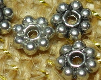 Pewter flower spacer beads