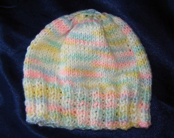Knit Baby Hat in Soft Pastels for a Baby Boy or Girl - for Newborn to 3 Months - Baby Shower Gift - Gift for Baby - Baby Gifts