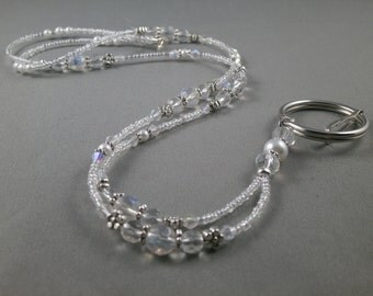 White glass pearl and crystal breakaway ID lanyard. select size and clasp magnetic, toggle or jump ring ID badge  lanyard, gift under 20