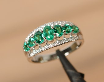 created emerald ring multistone ring sterling silver oval cut crown ring engagement ring