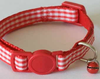 GINGHAM RED - Small Red and White Cat Collar with Bell and Breakaway Buckle