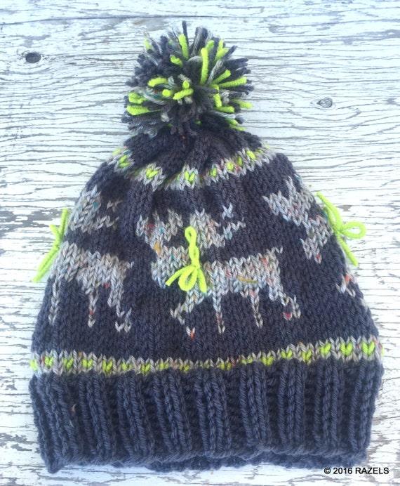 Knitting Pattern For Loose Hat : Moose Hat KNIT MOOSE HAT Moose Antler Cute Winter Hats