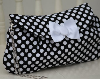 Black and White Polka Dot Clutch, Polka Dot Purse with Chain Wristlet, Valentine's Gift for Her