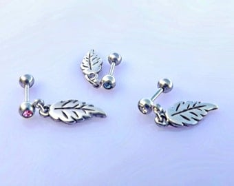 Falling Feather Dangle Cartilage Piercing Earrings - Choose Your Colour