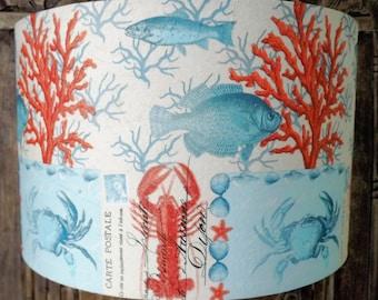 Nautical lamp shade  Carte Postal Shabby Chic  lobster postcard aqua  bathroom Free Gift