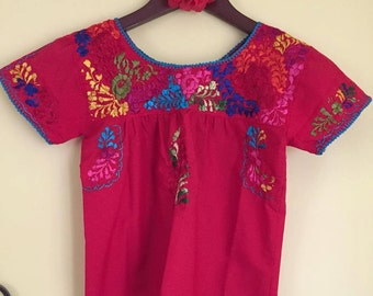 Mexican blouse oaxaca mexican party cinco de mayo day of the dead Oaxaca hand embroidered fiesta mexicana birthday blusa mexicana
