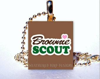 Scrabble Tile Pendant - Brownie Scout