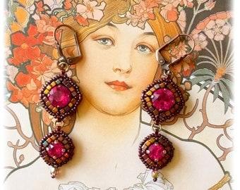 Earrings Philomène, Rose Fuschia, purple, Bohemian-inspired, Oriental, Baroque, ancient