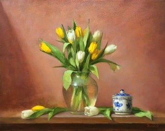 Tenderness. Still life flower. Original oil painting by Yana Golikova. Yellow white tulips. Vase. Oil on canvas. Framed art