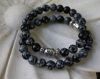 Snowflake Black Obsidian Buddha Bracelet
