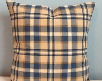 Farmhouse throw pillow cover. Blue plaid. Pillow Ticking. Farmhouse decor. French Country cottage. Rustic pillow. Ranch decor. Cabin pillow.
