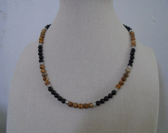 Mens Picture Jasper and Onyx necklace, Mens Beaded Necklace, Mens Stone Necklace