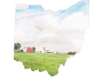 Ohio State Art Print - Unique Map Art - Watercolor State Print - Ohio Wall Art - Ohio State Decor - Watercolor Map - Map Art Print