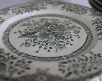 SALE English Ironstone Tableware, Original, Kew Green Pattern Salad Bowls Cereal Bowls Bread Butter Plates, & Dinner Plates, Not Replacement