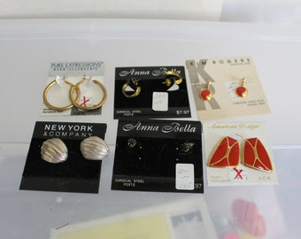3 Bags of 6 Pairs of Vintage Earrings Still on Packaging, Never Used, Lot of Jewelry, Earrings, All Kinds, Pierced Ears, Great Names, NICE