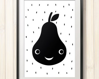 kids black and white poster,scandinavian style,pear poster,children wall art,nursery print,nursery poster,instant download,digital poster