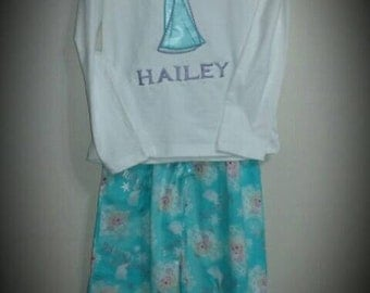 Snow Queen 2 Piece Girls pants and Appliqued  Shirt Outfit