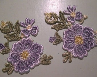 2 Machine embroidered appliques flowers, blue and green