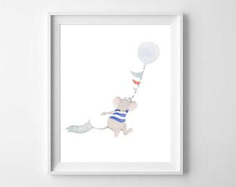 Mouse Nursery Wall Art,Nursery Decor,Boys Nursery Art,Mouse Boys Nursery,Baby Boy Room,Balloon Nursery Art,Boys Room Decor,Pirate Boys Roome