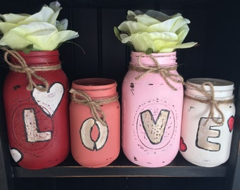 Distressed Mason Jars-Set of 4(Free Shipping)