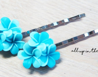 Flower Bobby Pins - Blue Plumeria Bobby Pins - Blue Bobby Pins - Blue Flower Bobby Pins - Tropical Flower Bobby Pins