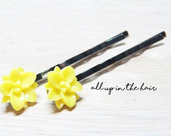 Yellow Lily Hair Pins - Yellow Bobby Pins - Yellow Flower Bobby Pins