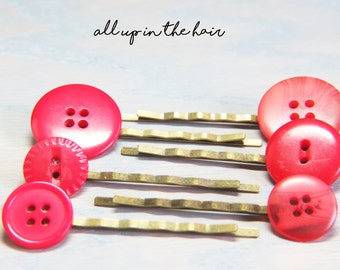 Button Bobby Pins -Red Button Bobby Pins - Bobby Pin Set - Christmas Gift - Stocking Stuffer
