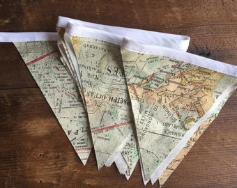 World map bunting, geography room decor, travel decor, world map wall hanging, fabric banner, boys room decor, world decor, wedding