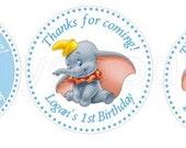 Dumbo Party Stickers, Dumbo Birthday personalized stickers. Dumbo Baby Stickers, Birthday Party, Cumpleaños, 1st Birthday