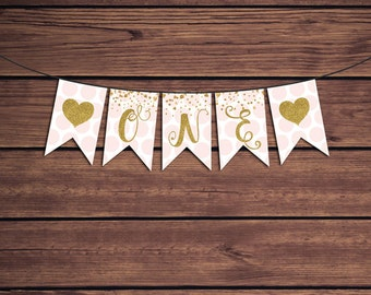 Pink and Gold Birthday Banner, One Bunting, Pink and Gold 1st Birthday Banner Instant Download PDF Printable