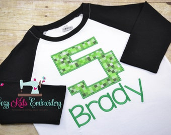Gamer birthday shirt, gamer shirt, pixel shirt, boy girl birthday shirt, video game birthday party, embroidery appliqué