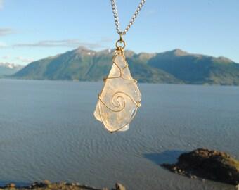 Alaskan Clear Sea Glass Pendant