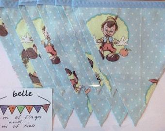 Handmade Fabric Bunting: Vintage Pinocchio - 2m Of Flags