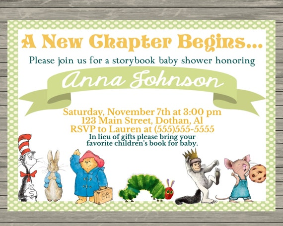 story book baby shower invitation bring a book babyshower invitation