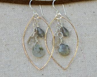 Sterling Silver and 14K Gold-Filled Gemstone Dangle Earrings / Hawaiian Jewelry / Ocean Inspired Earrings / Mixed Metal Earrings