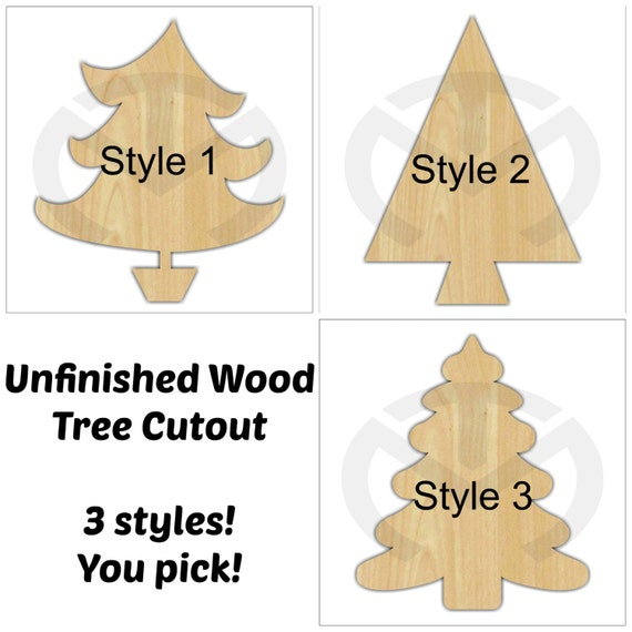 Unfinished Wood Christmas Tree Laser Cutout Wreath Accent