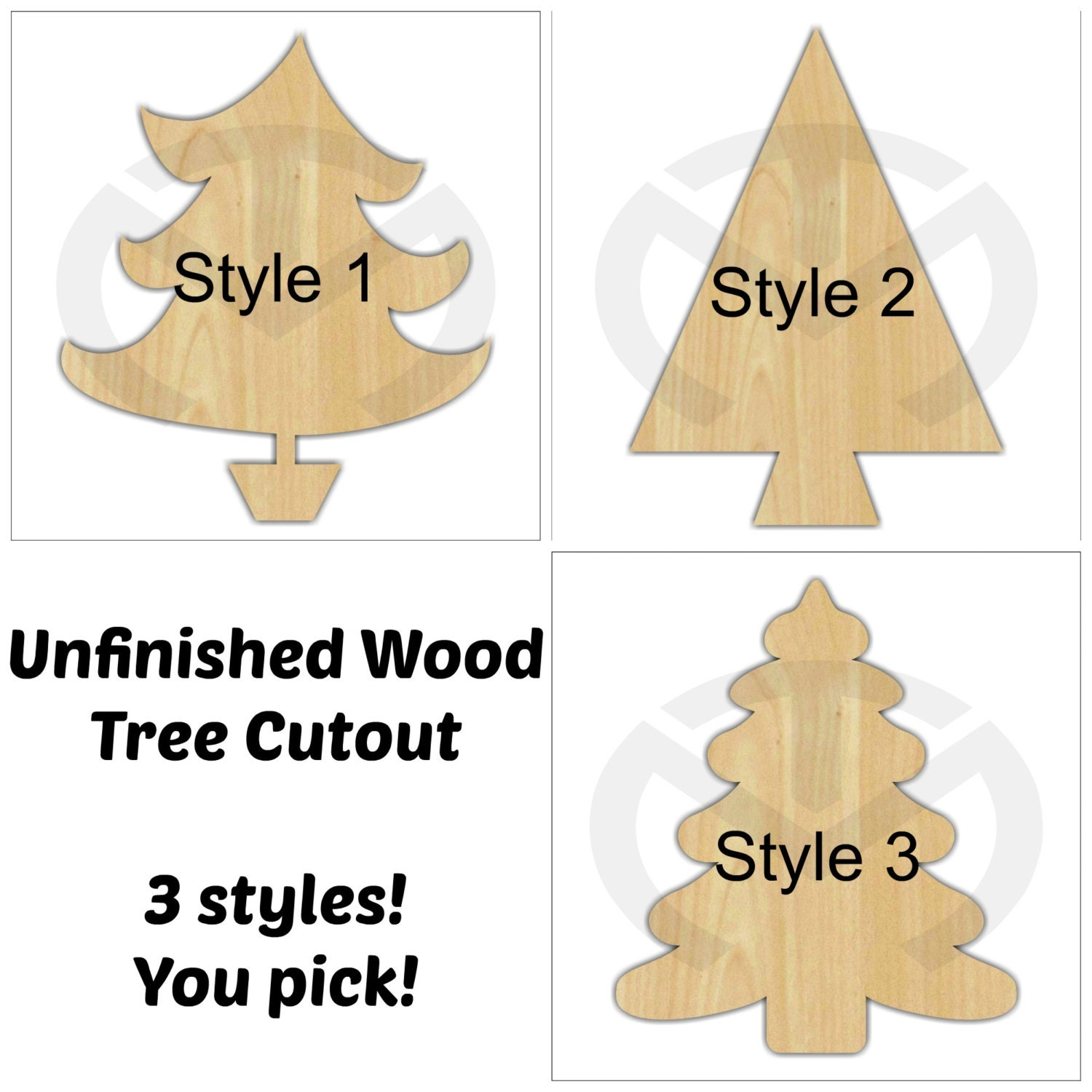 Wood christmas tree cutout -  Zoom